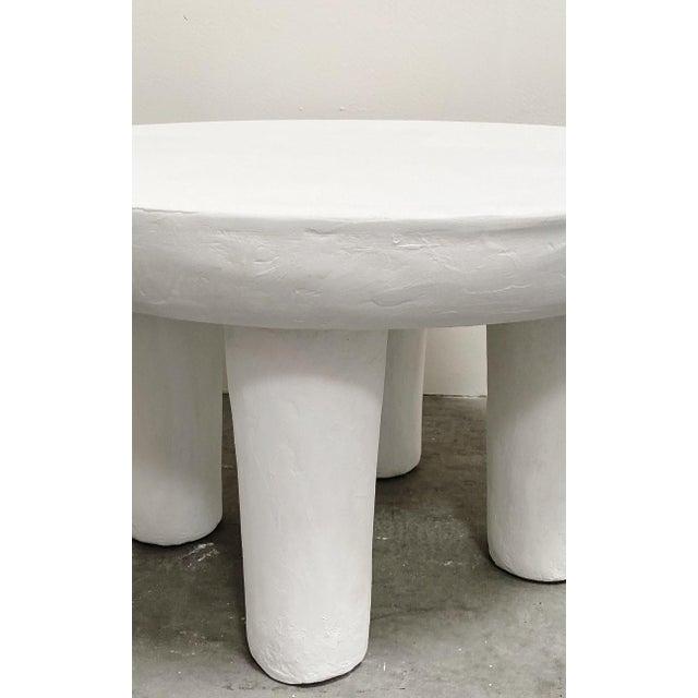 Mediterranean Zanzibar Low Round Plaster Accent Table For Sale - Image 3 of 3