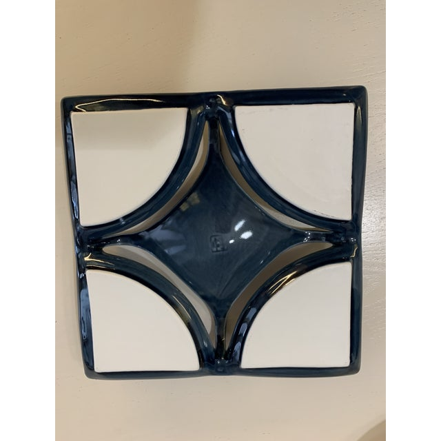 Japanese Navy Blue and Platinum Porcelain Dish For Sale - Image 4 of 8