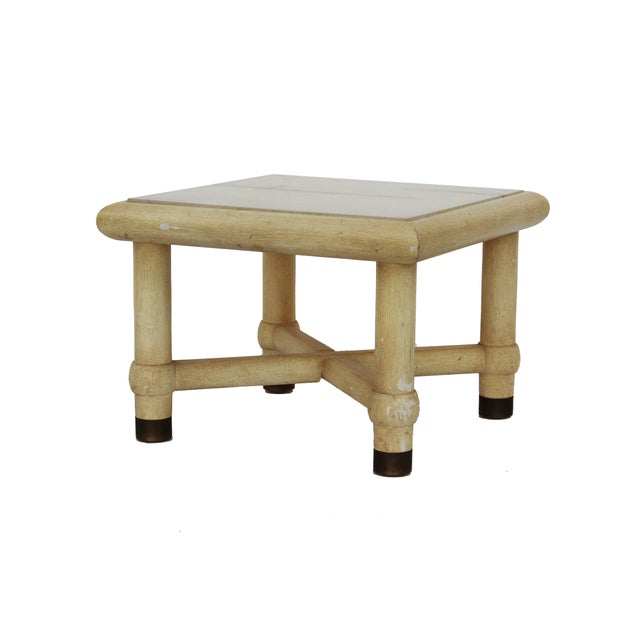Side Table with X Base and Onyx Top in the Style of Karl Springer For Sale - Image 5 of 7