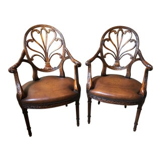 Hand Carved Armchairs With Leather Seat and Brass Nails - a Pair For Sale
