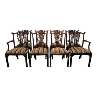 Maitland Smith Mahogany Chippendale Dining Chairs - Set of 8