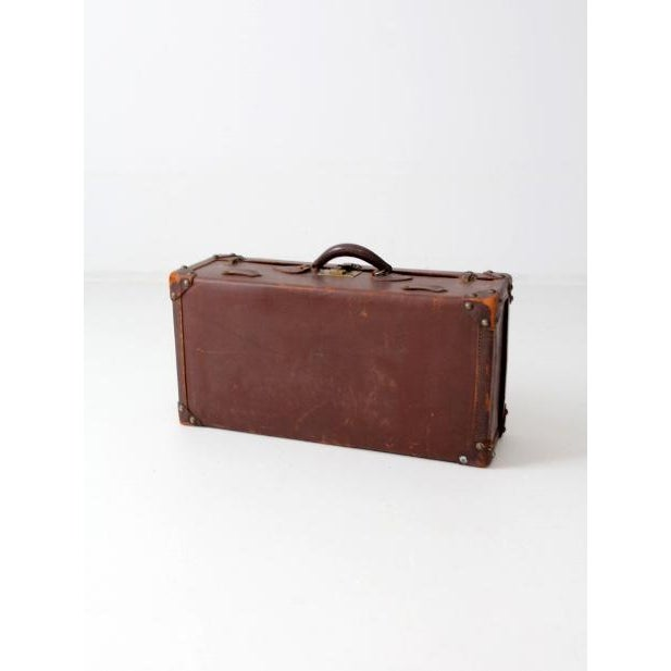 Rustic Vintage Brown Leather Suitcase For Sale - Image 3 of 8