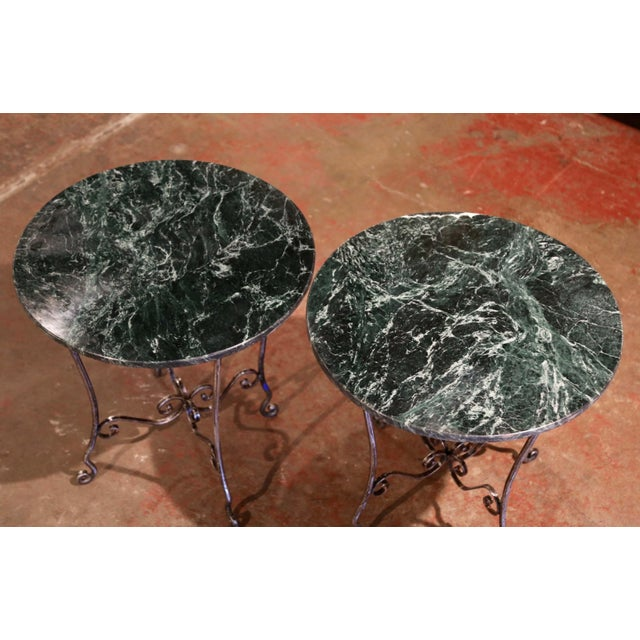 1960s Mid-Century French Polished Wrought Iron and Marble Patio Side Tables - a Pair For Sale - Image 5 of 9
