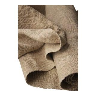 Grain Sack Fabric Antique Linen Hemp Wide Heavy Herringbone 1800's 3 Yard Bolt For Sale