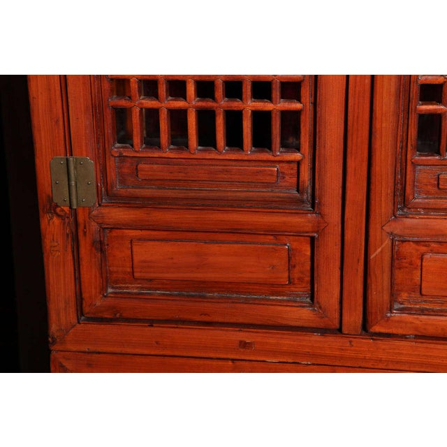 Mid 19th Century Tall 19th Century Chinese Kitchen Cabinet With Fretwork Upper Doors For Sale - Image 5 of 11