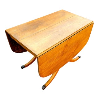 Mid 20th Century Light Pine Kitchen Drop Leaf Table For Sale