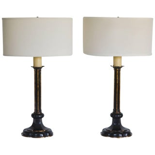 Pair of Hollywood Regency Candlestick Table Lamps For Sale