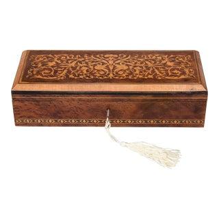 Antique English Burl Walnut Inlaid Pen & Pencil Box, Lock & Key For Sale