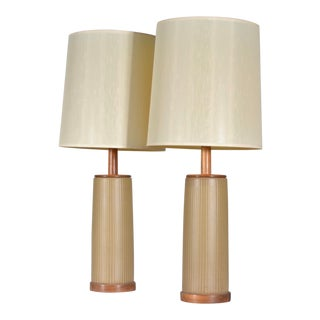 1960s Large Incised Ceramic Table Lamps by Gordon & Jane Martz for Marshall Studios - a Pair For Sale