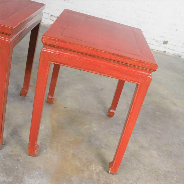 Mid 20th Century Asian Ming Style Chinese Crackle Red Lacquer Rectangular End Tables - a Pair For Sale - Image 4 of 13