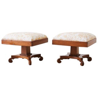 Pair of Biedermeier Carved Footstools With Fortuny Upholstery For Sale
