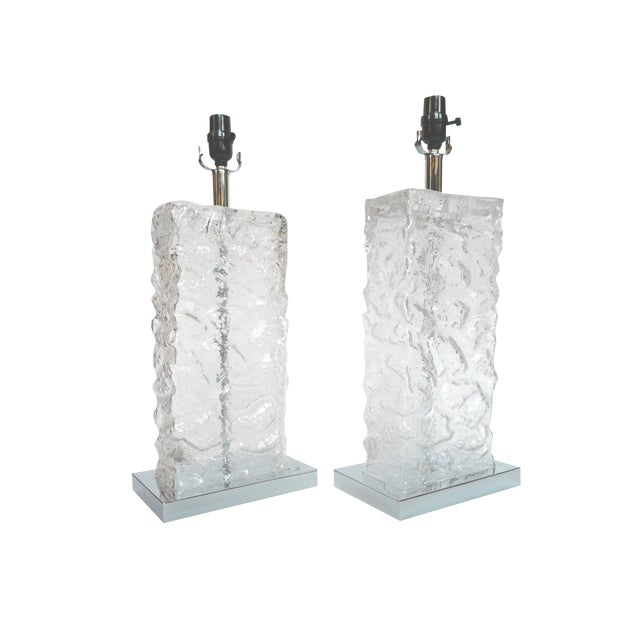 Modern ice cube glass table lamps a pair chairish modern ice cube glass table lamps a pair mozeypictures Gallery