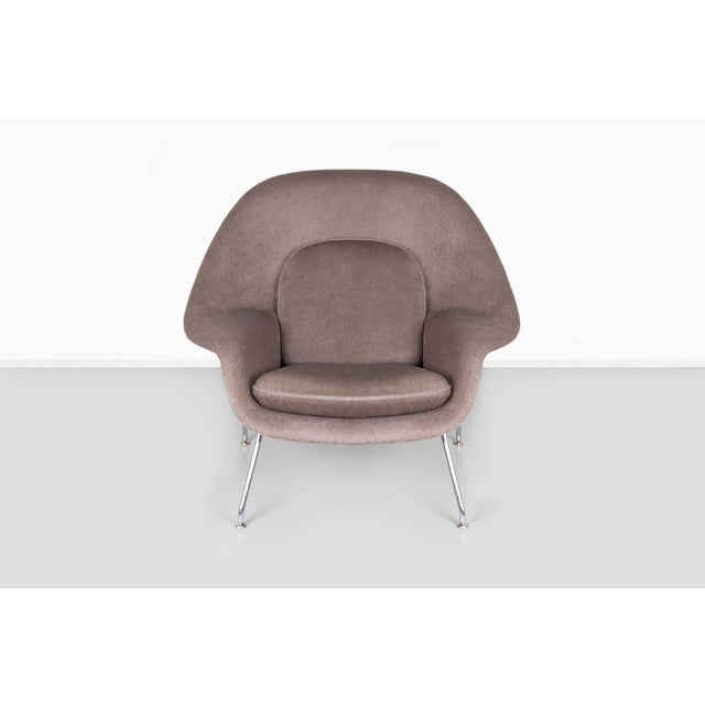 "Womb chair designed by Eero Saarinen for Knoll USA, d 1946 / c 1960s chrome + alpaca 31 ¼"" h x 35 ¼"" w x 31"" d x seat 15..."