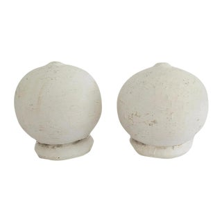 Vintage White Wood Architectural Round Ball Salvage Detail Finials - Set of 2 For Sale