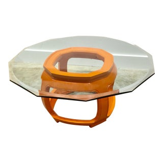 Hermés Drexel Heritage Orange Glass Top Coffee Table For Sale