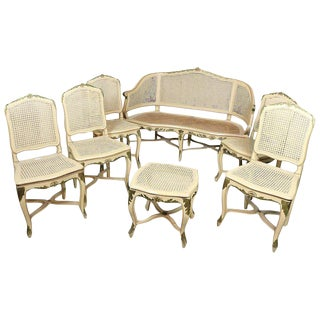 18th Century Italian Louis XV Lacquered Living Room Sets Seven Pieces For Sale