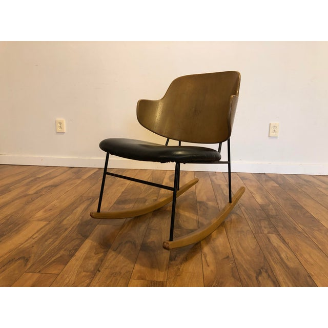 Black Vintage Kofod Larsen Penguin Rocking Chair For Sale - Image 8 of 12