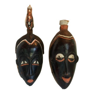 Pair of Vintage West Africa Hand Carved Wooden Ceremonial Masks For Sale