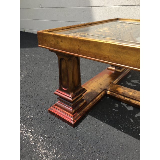 Red Weiman Gilt Wood Chinoiserie Carved Coffee Table For Sale - Image 8 of 11