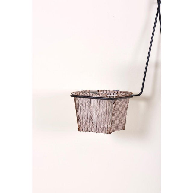 Mid-Century Modern Mathieu Matégot Black and Grey Lacquered Metal Wall Planter Holder, Circa 1950 For Sale - Image 3 of 10