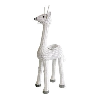 White Wicker Giraffe Planter Vintage