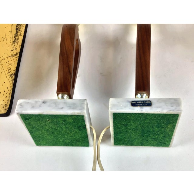 1960s Vintage Teak Marble Brass Italian Lamps - a Pair For Sale - Image 11 of 12
