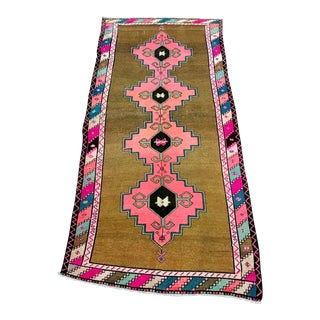Vintage Turkish Anatolian Pink Geometric Patterned Oushak Area Rug - 4′4″ × 9′10″ For Sale