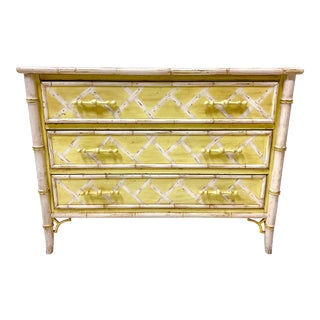 Hand Painted Faux Bamboo National Mt. Airy Chest For Sale