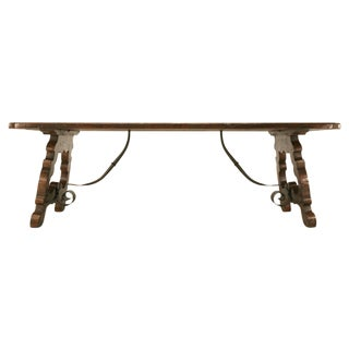 Custom Italian/Spanish White Oak Farm Style Dining Table w/Fleur de Lys For Sale