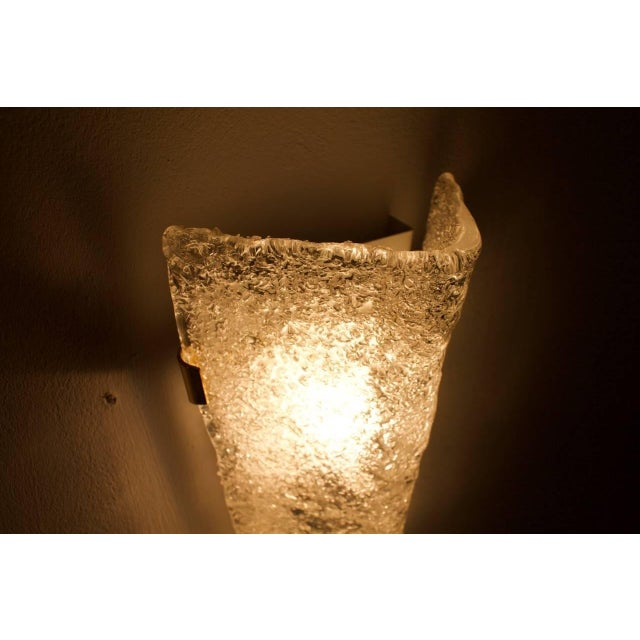 Hillebrand Pair of Hillebrand Brass and Glass Wall Sconces, 1965 For Sale - Image 4 of 7