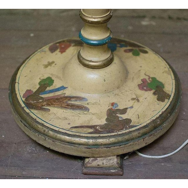 Wood Chinoiserie Paint Decorated Wooden Floor Pole Lamp For Sale - Image 7 of 10