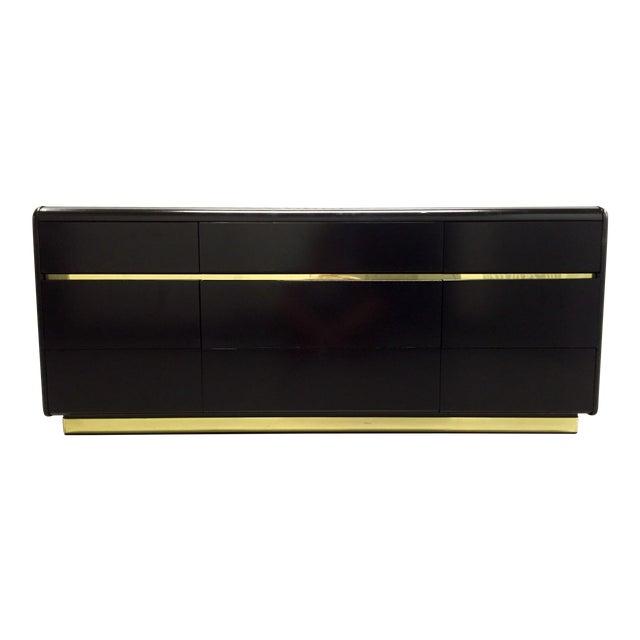 Lane Black Lacquer & Brass Detail Dresser For Sale