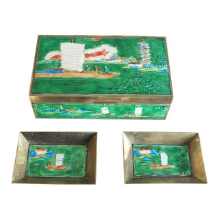 Antique Chinese Green Brass & Enamel Cigarette Box & Ashtrays - Set of 3 For Sale