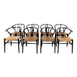 Image of Danish Wishbone Back Dining Chairs- Set of 8 For Sale