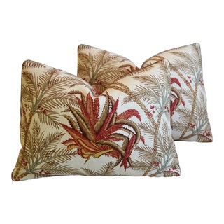 """Colfax & Fowler Botanical Succulent Feather/Down Pillows 22"""" X 17"""" - Pair For Sale"""