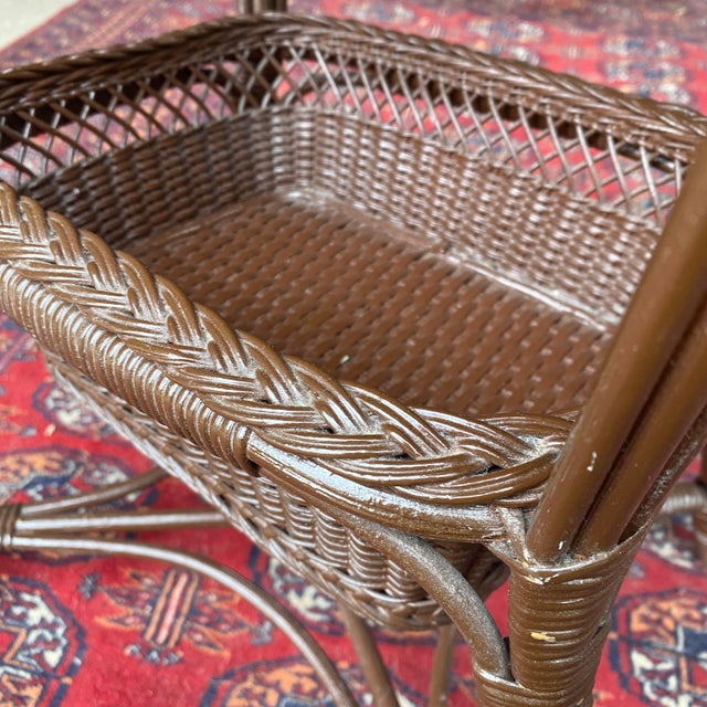 Brown Vintage Victorian Wicker Rattan Basket Sewing Stand For Sale - Image 8 of 11
