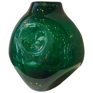 Winslow Anderson for Blenko Dimpled Emerald Glass Vessel