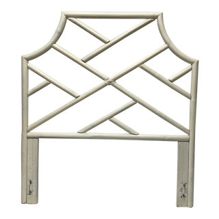 Boho White Rattan Pole Twin Headboard For Sale