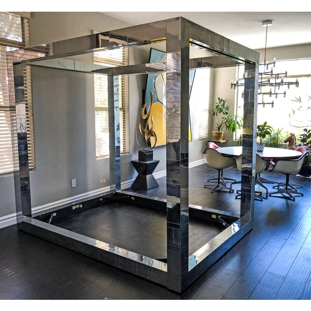 Cityscape by Paul Evans Studio for Directional. Chrome-plated bed frame. Tracks for canopy curtains included. Includes all...
