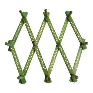 Vintage Green Wood Accordion Peg Rack For Sale