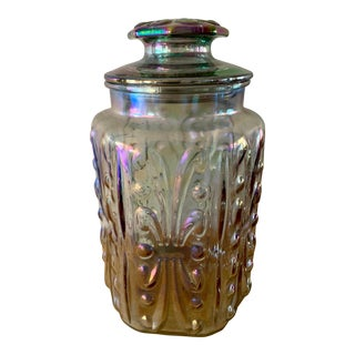 Vintage Carnival Glass Iridescent Canister Jar With Lid For Sale