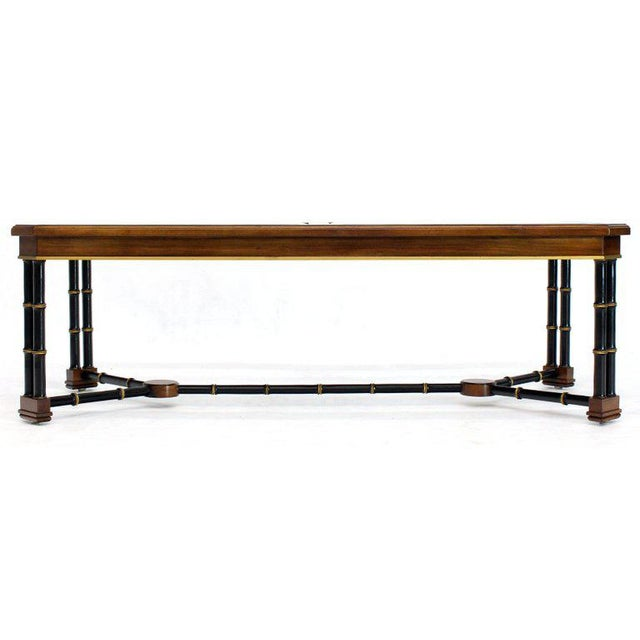 Rosewood Black Lacquer Rectangular Faux Bamboo Coffee Table Beveled Glass Top For Sale - Image 11 of 11