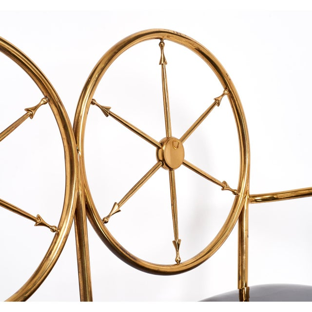 Brass Chiavari Brass 'Wheelhouse' Bench ca. 1950 For Sale - Image 7 of 9