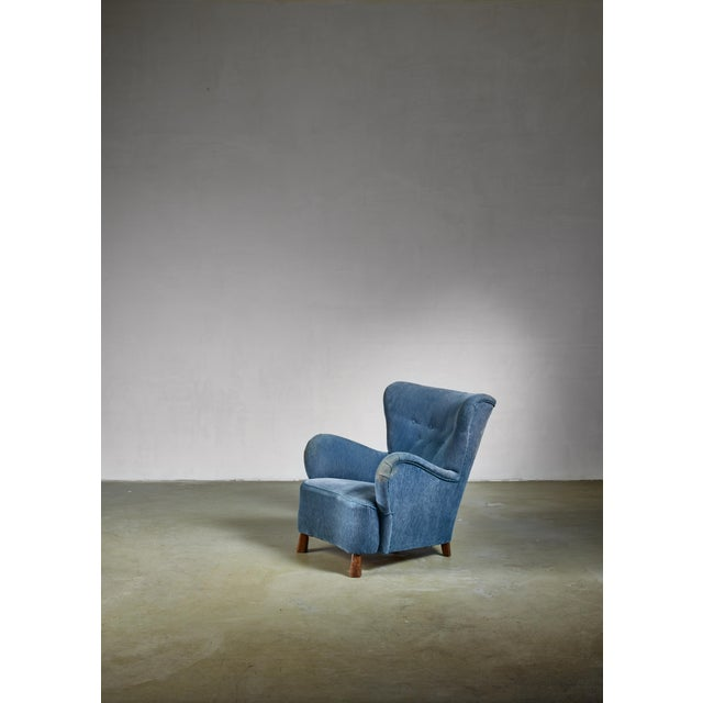 1930s Blue Otto Schulz Lounge Chair, Sweden, 1930s For Sale - Image 5 of 5