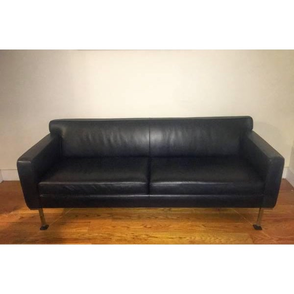 Design Within Reach Black Leather Couch - Image 2 of 4