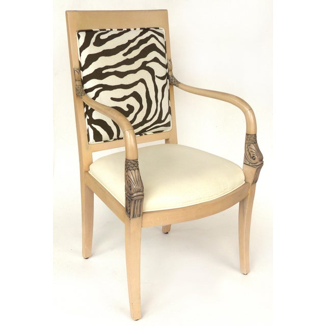Neoclassical Revival 1980s Vintage Blond Wood & Zebra Print Upholstery & Dolphin Carved Armchairs- a Pair For Sale - Image 3 of 12