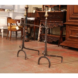 Pair of 17th Century French Polished Forged Iron and Bronze Fireplace Andirons Preview