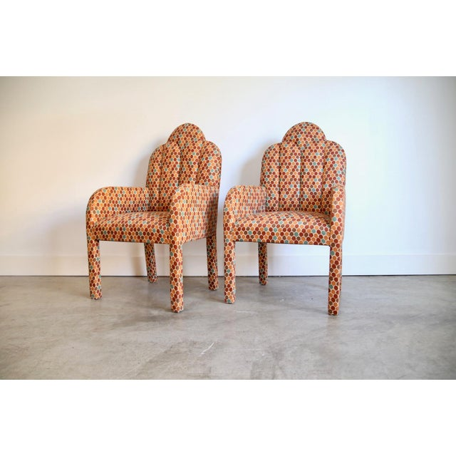 Scalloped Postmodern Armchairs- A Pair For Sale - Image 13 of 13
