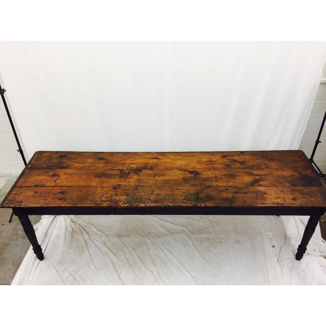 Antique Harvest Farm Table For Sale - Image 9 of 11