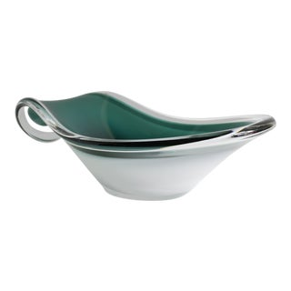 Swedish Modern Green & White Bowl For Sale